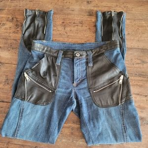 VINTAGE DOLCE & GABBANA Leather Accent Jeans '05